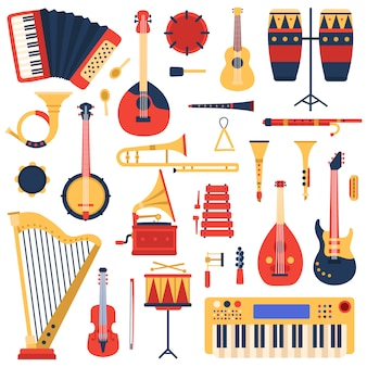 악기. 만화 낙서 음악 기타, 드럼, 피아노 신디사이저 및 하프, 재즈 밴드 악기 그림을 설정합니다. 축음기와 실로폰, 튜바 및 트롬본, 밴조 및 플루트