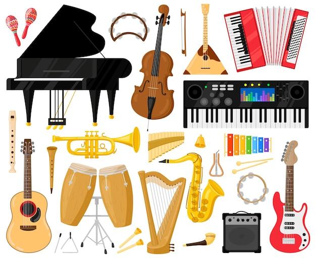 Музыкальные инструменты. мультяшный музыкальный оркестр инструменты, фортепиано, барабаны, арфа и набор векторных символов синтезатора. оркестр или инструмент классической музыки