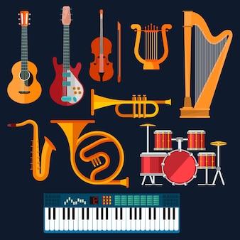 ドラムセット、アコースティックギターとエレクトリックギター、バイオリン、シンセサイザー、サックス、トランペット、ハープ、古代の竪琴、ホーンを備えた楽器のクリップアート。アート、文化、音楽エンターテインメントの概念