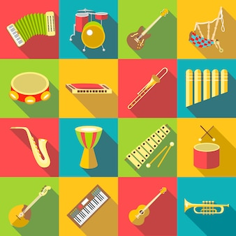 Musical instruments color icons set, flat style