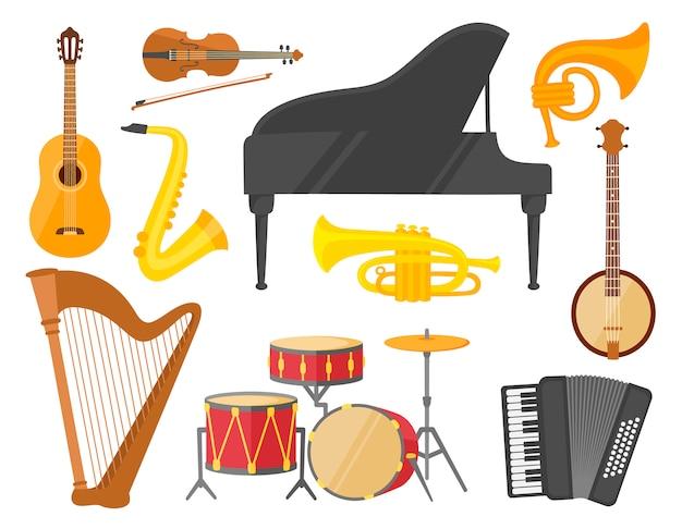 Музыкальные инструменты, красочный набор.
