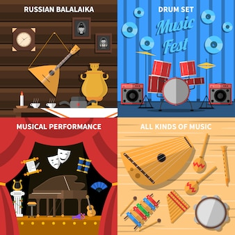 Musical instruments concept icons set