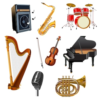 Musical instruments decorative icons set