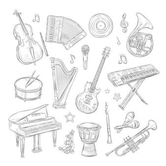 Музыкальные инструменты каракули. барабан, флейта, синтезатор, аккордеон, гитара, микрофон, пианино, музыкальные ноты, ретро рисованной эскиз, набор