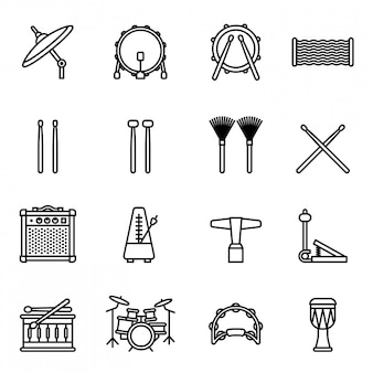 Musical instruments: drums kit icon set with white background. thin line style stock vecto