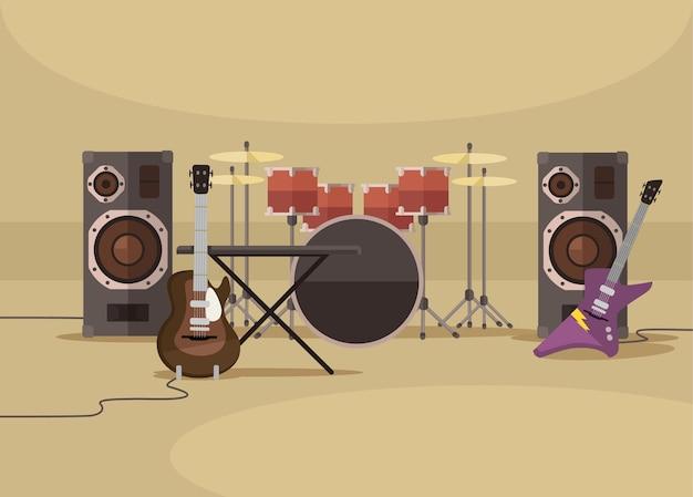 Музыкальные инструменты, плоская иллюстрация