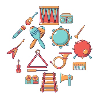 Musical instruments icon set, cartoon style