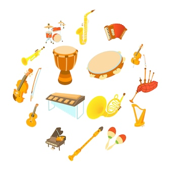 Musical instruments icons set, cartoon style