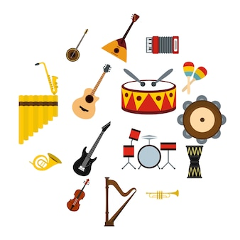 Musical instruments icons set, flat style