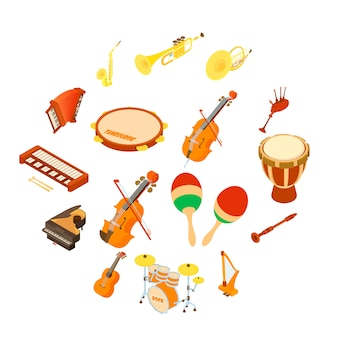 Musical instruments icons set, isometric style