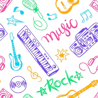 Musical instruments, illustrations flat icons and elements set seamless pattern