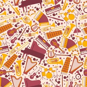 Музыкальные инструменты в бесшовные модели. упаковочная бумага с иконами пианино, арфы, барабанов, гитары и аккордеона. отдельные эмблемы в плоском стиле