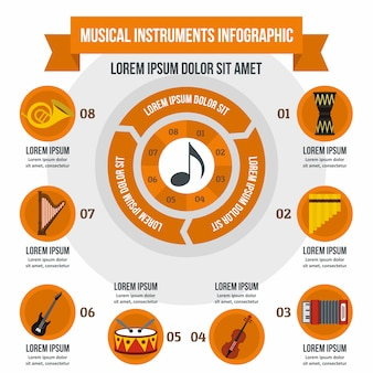 Musical instruments infographic template, flat style