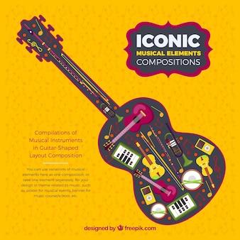Musical instruments inside a guitar