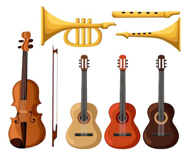 Музыкальные инструменты. изолированные объекты гитара трубы скидка.