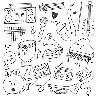 Musical instruments kawaii doodle line art