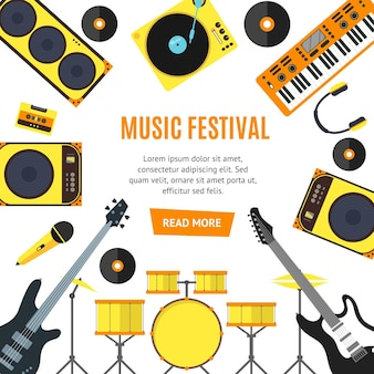 Musical instruments and music tools banner flat style.