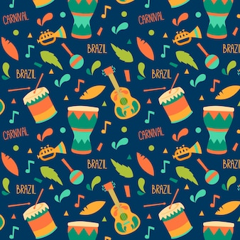 Musical instruments seamless carnival pattern