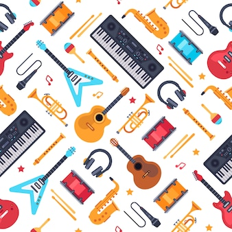 Musical instruments seamless pattern. vintage piano synthesizer, rock guitar and drums. music flat