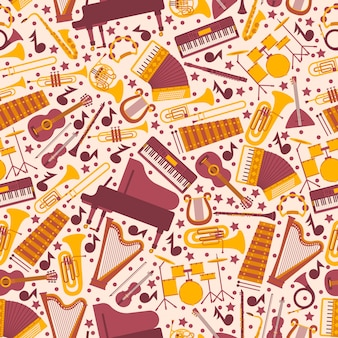 Musical instruments in seamless pattern. wrapping paper with icons of piano, harp, drums, guitar and accordion. isolated emblems in flat style