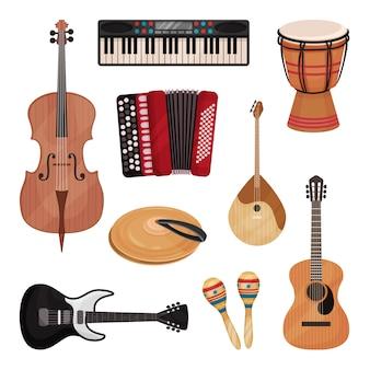 Набор музыкальных инструментов, виолончель, скрипка, барабан, тарелки, домбра, маракасы, гитары, аккордеон иллюстрация на белом фоне