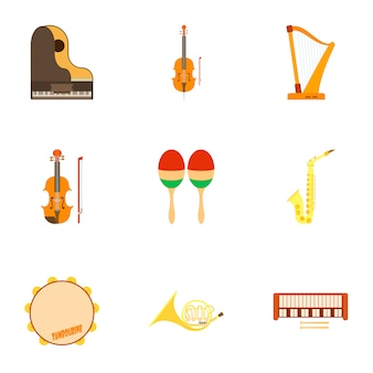 Musical instruments set, flat style