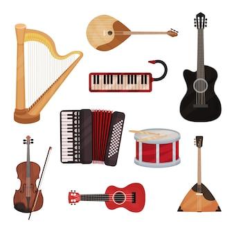 Набор музыкальных инструментов, арфа, синтезатор, гитары, аккордеон, балалайка, барабан иллюстрация на белом фоне