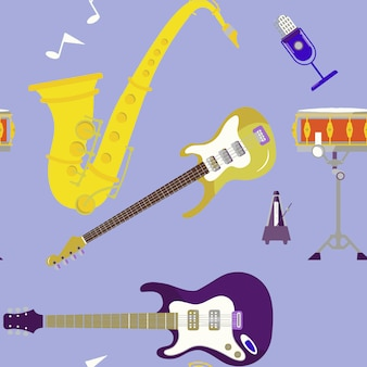 Musical instruments set icons stock vector illustration isolated on background