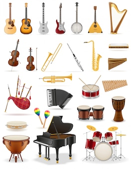 Musical instruments set icons stock.