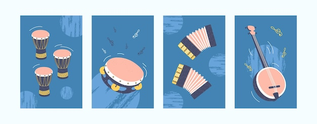 Musical instruments set in pastel colors.