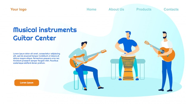 Musical instruments shop landing page template
