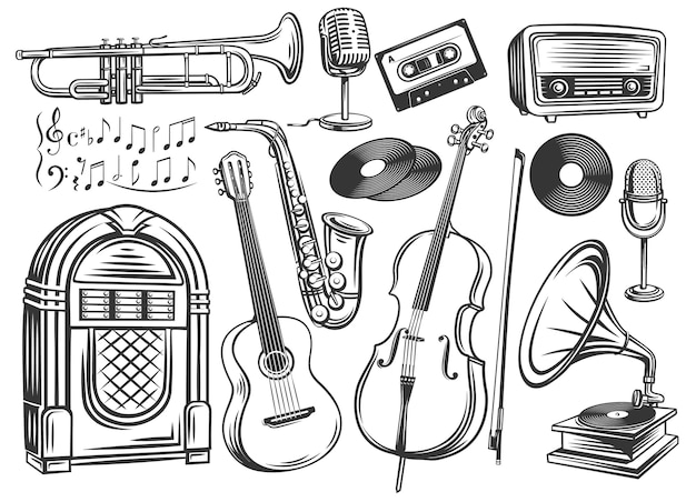 Musical instruments and symbols outline
