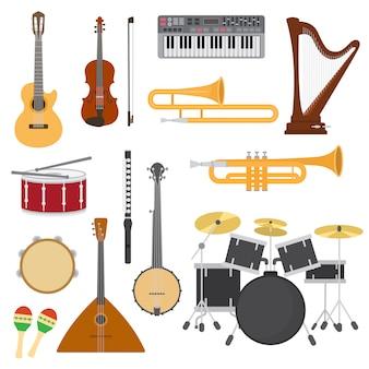 楽器ベクトルアコースティックギターやバラライカとミュージシャンのヴァイオリンやハープのイラストとの音楽コンサート