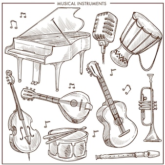 Musical instruments vector sketch icons collection for folk or jazz classical music