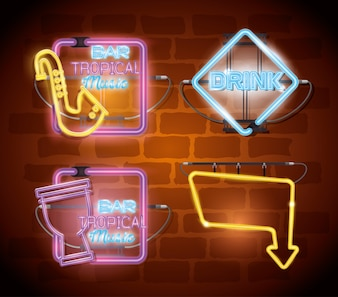 Musical instruments with neon lights set icons