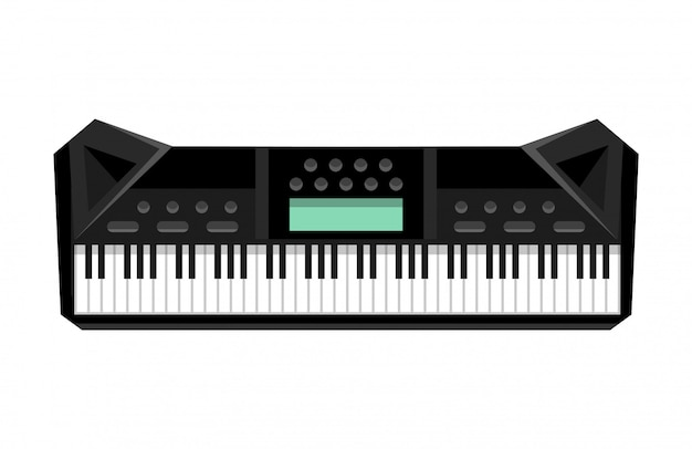 Musical keyboard instrument. isolated image of a synthesizer. illustration - musician equipment. tool for music lover