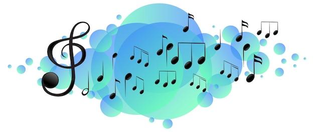 Simboli della melodia musicale su una macchia blu brillante