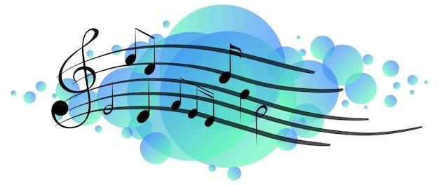 Musical melody symbols on bright blue splotch