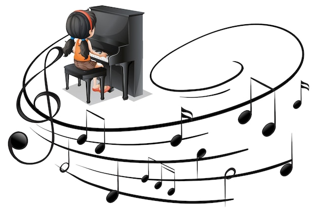 Musical melody symbols with a girl playing piano isolated
