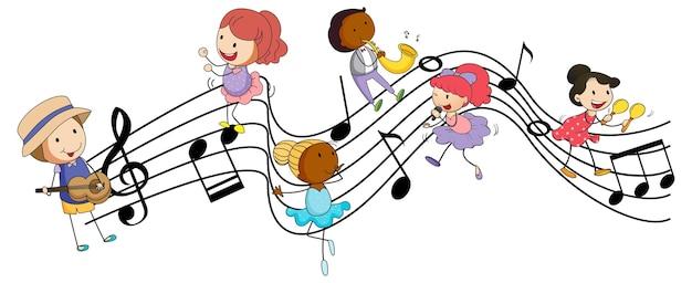 多くの落書きの子供たちの漫画のキャラクターと音楽のメロディーのシンボル