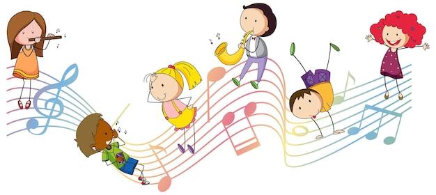 Simboli di melodia musicale con molti personaggi dei cartoni animati per bambini scarabocchiati