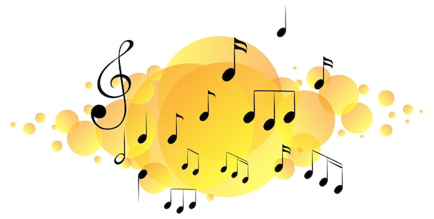 Musical melody symbols on yellow splotch