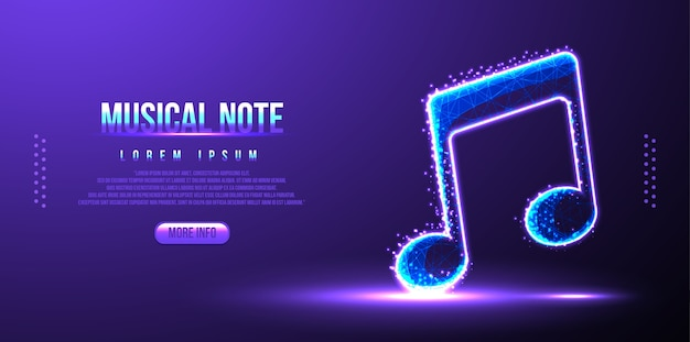 Musical note, instrument low poly wireframe mesh