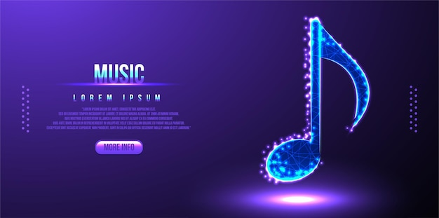 Musical note instrument low poly wireframe mesh