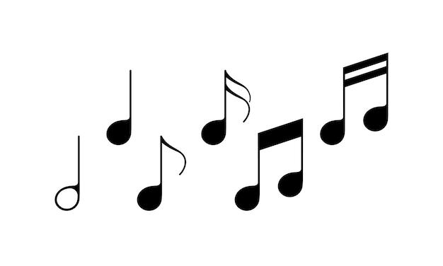 Музыкальная нота установить значок черного цвета. музыка. вектор на изолированном белом фоне. eps 10.