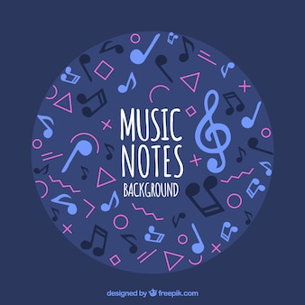 Musical notes background in memphis style