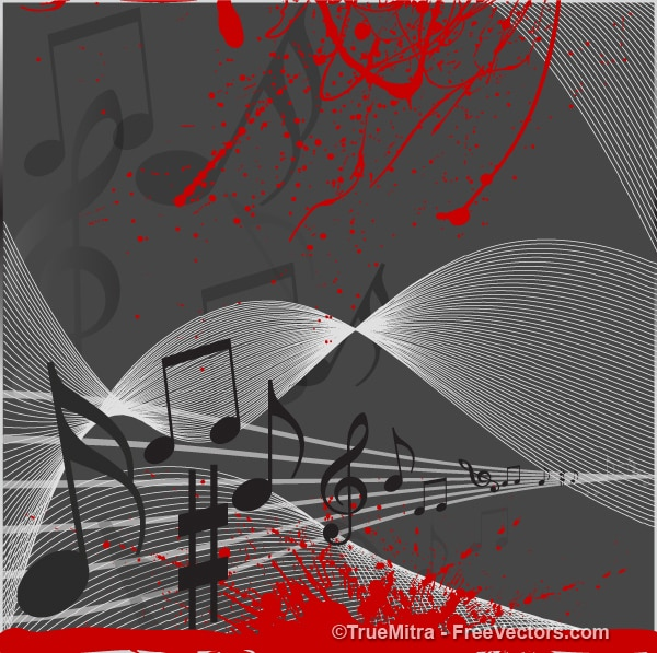 Musical notes on flowing stave with red splatter