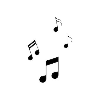 Значок музыкальных нот установлен в черном цвете. сонуд. мелодия. вектор на изолированном белом фоне. eps 10.