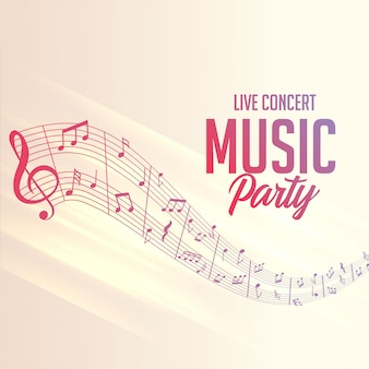 Musical notes lines poster for party events