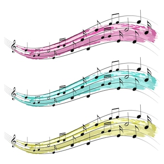 Musical notes ribbon graphic element vector design for concerts and music